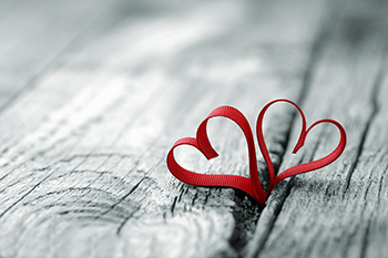Valentines Image of Ribbon Hearts on Dock board